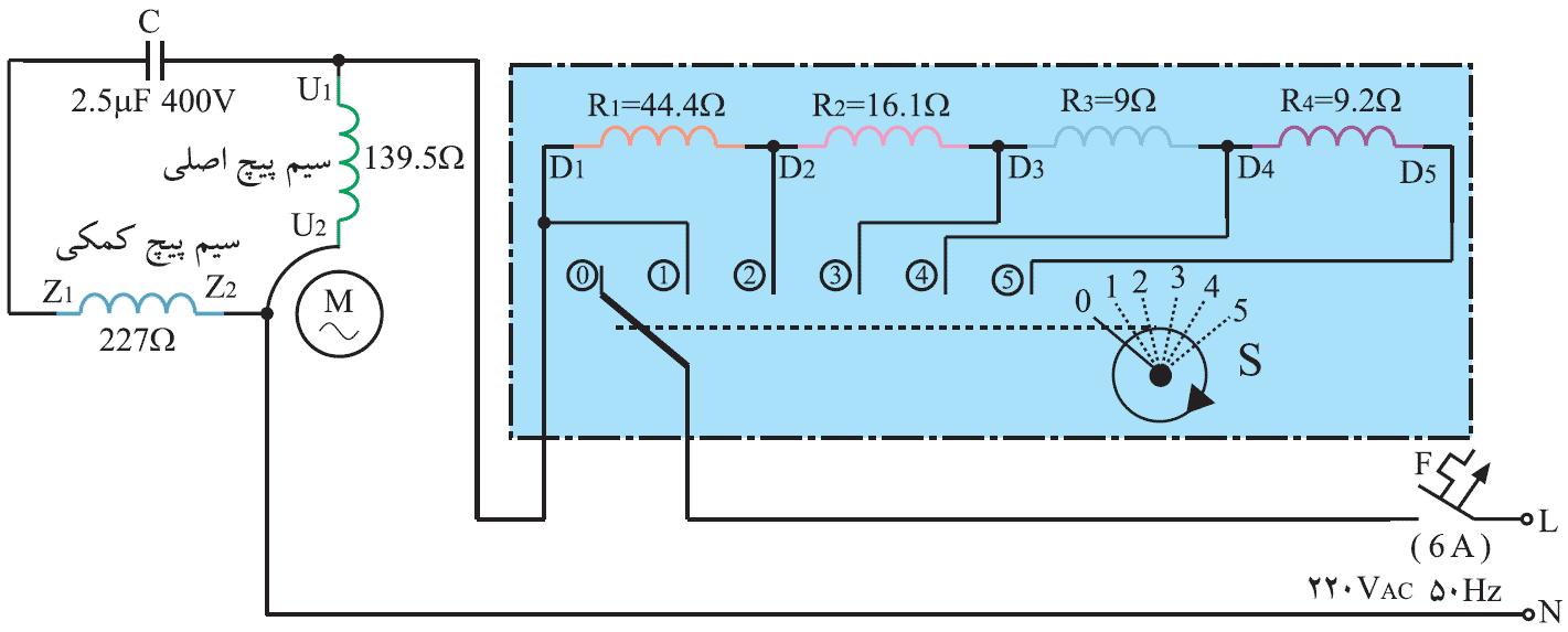 مدار الکتریکی پنکه ی سقفی با سلف چند سر و کلید چند حالته