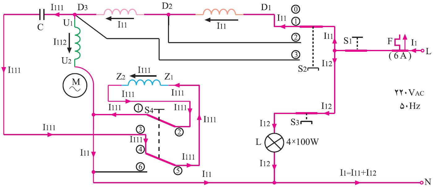 نقشه تفکیکی مدار الکتریکی پنکه سقفی