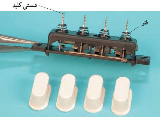 قاب های پلاستیکی ، فنرها ، شستی های کلید و پلاتین های ثابت و متحرک کلید
